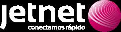 Logotipo blanco del operador de internet, fibra óptica y telefonía móvil Jetnet